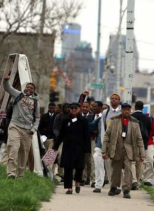 Students demonstrate after walking of Frederick Douglass High School in Detroit. The school, under the DPS emergency manager, has been without regular teachers and administrators, exposing the lie of privatization. by Pan-African News Wire File Photos