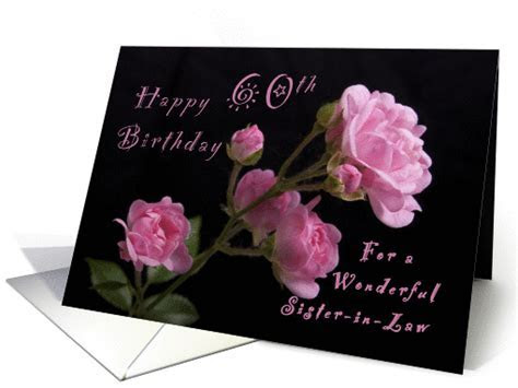 Happy 60th Birthday for a Sister in Law, Pink roses card
