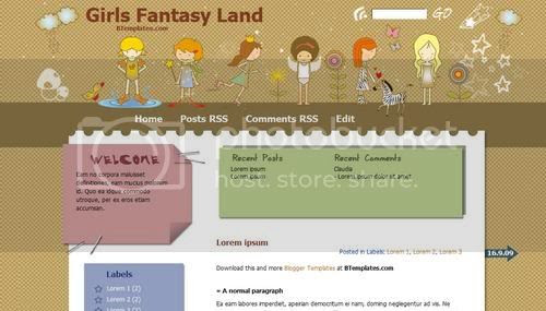 Blogger Cartoon Kids Girls Web2.0 Template