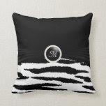 Monogram Black & White Zebra Animal Pattern Throw Pillows