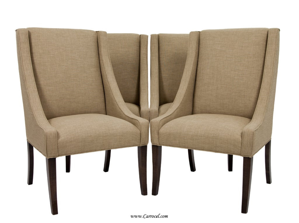 Set of 4 Italian Upholstered Parsons Living Room/Dining Chairs at ...