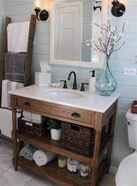farmhouse bathroom sink vanity lighting  decor ideas
