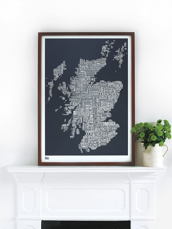 Scotland Type Map in Sheer Slate - decorative screen print