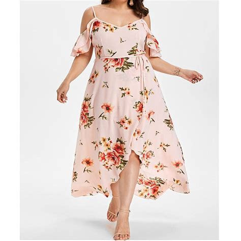 Women Cold Shoulder Long Floral Plus Size Maxi Dresses For