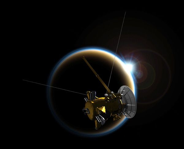 An artist's concept depicting NASA's Cassini spacecraft flying past Saturn's moon Titan.