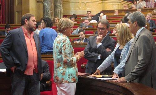 Pleno del Parlament catalán. Junqueras, Mas, Ortega y De Gispert
