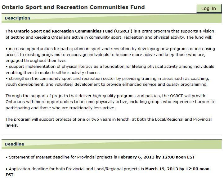 ontario sport and recreation community fund