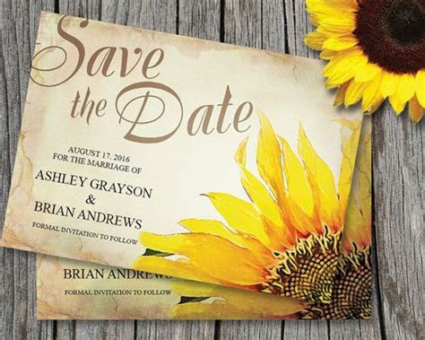 Sunflower Save The Date Card Template ~ Wedding, Rustic