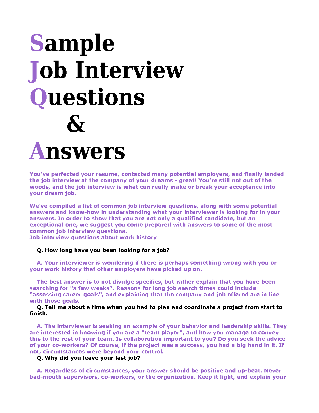 How to Answer Job Interview Questions - Security Guards ...