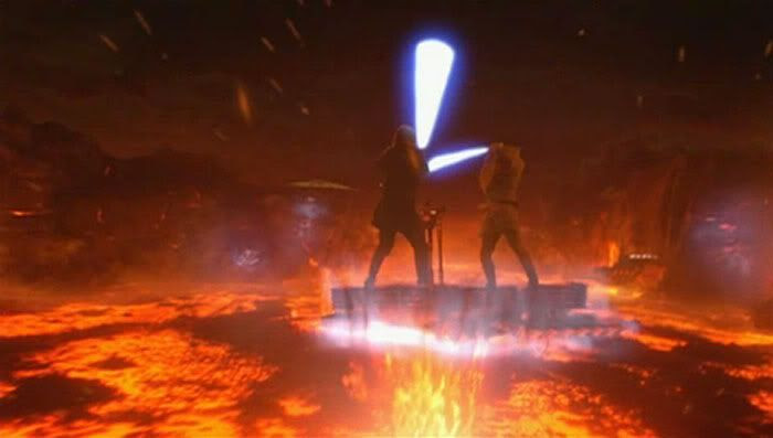 Anakin and Obi-Wan dueling atop a floating lava platform.