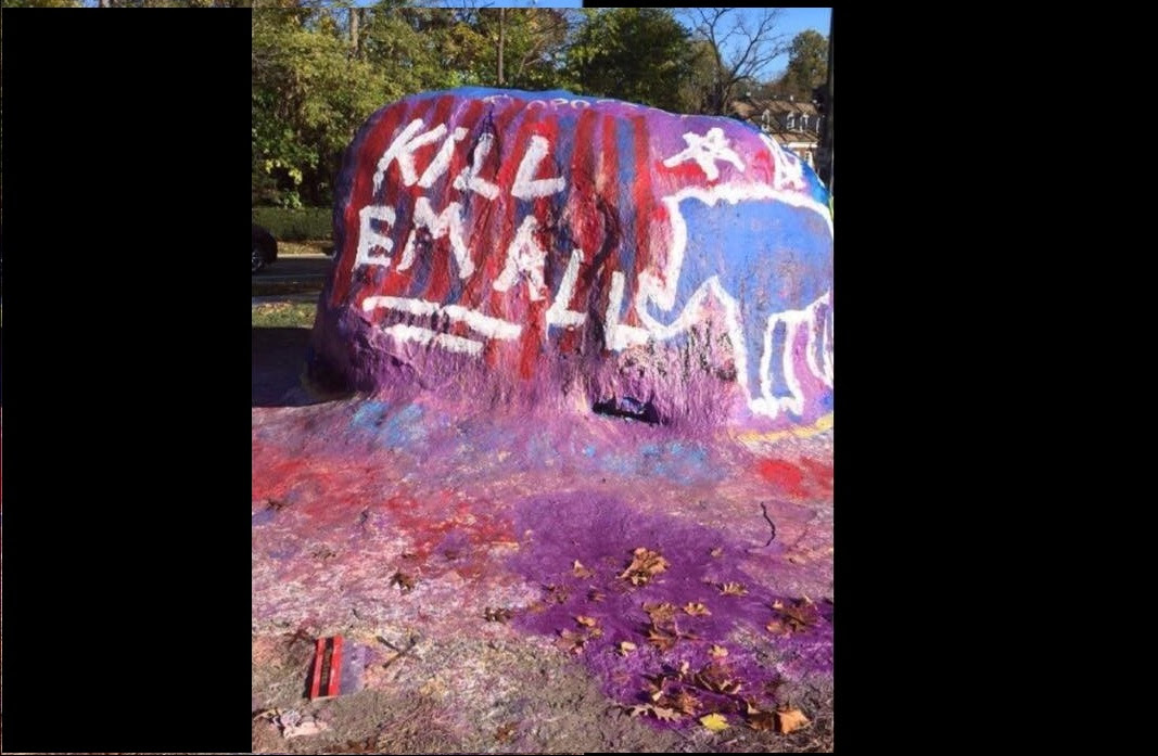 Images from  Safe Space? Ann Arbor Landmark Painted With 'Kill em All' After Trump Victory