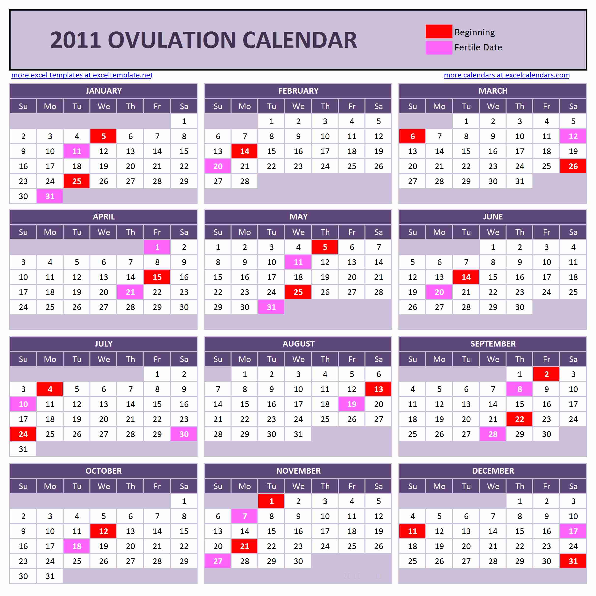 Yearly Ovulation Calendar V1