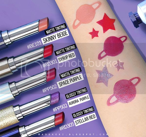 etude house UNIVERSE DEAR MY TINT & GLOSS TINTING LIPSTICK swatches