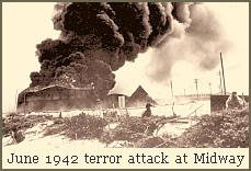 Oil tanks burning at Midway