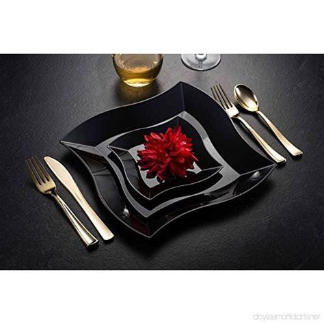 waveware plastic party disposable plates   black