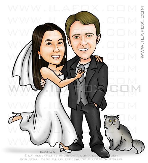 Caricatura corpo inteiro, casal, noivos com gato, by ila fox