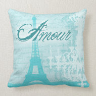 Amour Blue French Eiffel Tower Pillow