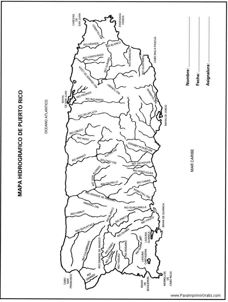 Mapa Hidrográfico De Puerto Rico Para Imprimir Gratis