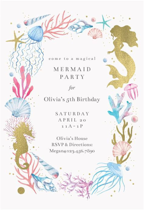Mermaid Merriment   Birthday Invitation Template (free