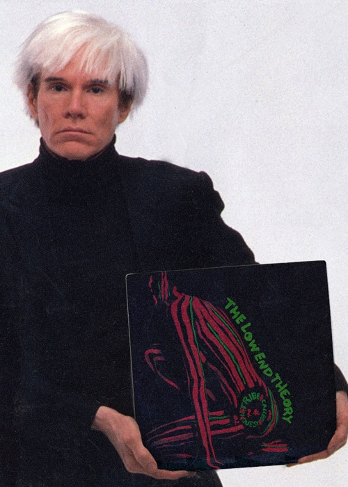 """Andy Warhol holding A Tribe Called Quest's """"The Low End Theory"""" vinyl. (He passed a few year before this LP was actually created but this is still dope nonetheless)."""