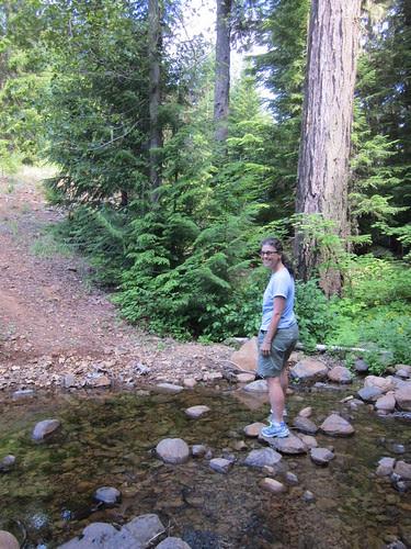 Susan crossing Anvil Creek