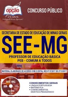 Concurso SEE MG 2018-PROFESSOR DE EDUCAÇÃO BÁSICA - PEB - (COMUM A TODOS OS CARGOS)