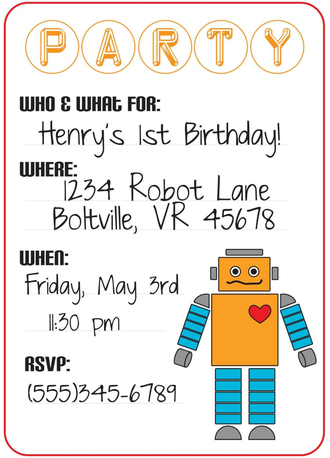Robot Party Invitation Fill In Print Your Own - 4 x 6 or 5 x 7 - Customizable - Matching Party Supplies