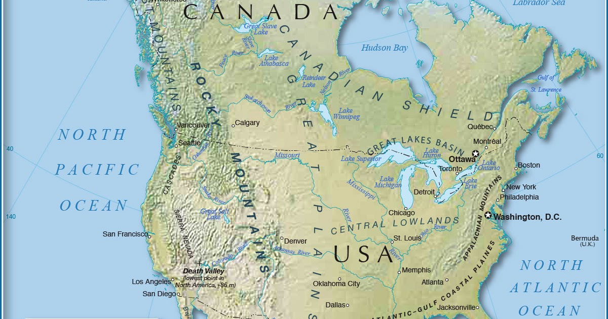 Image of: Physical Map Of Canada United States And Greenland