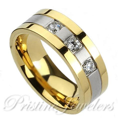 NEW Solid Titanium 3 CZ Gold & Silver Wedding Band Mens