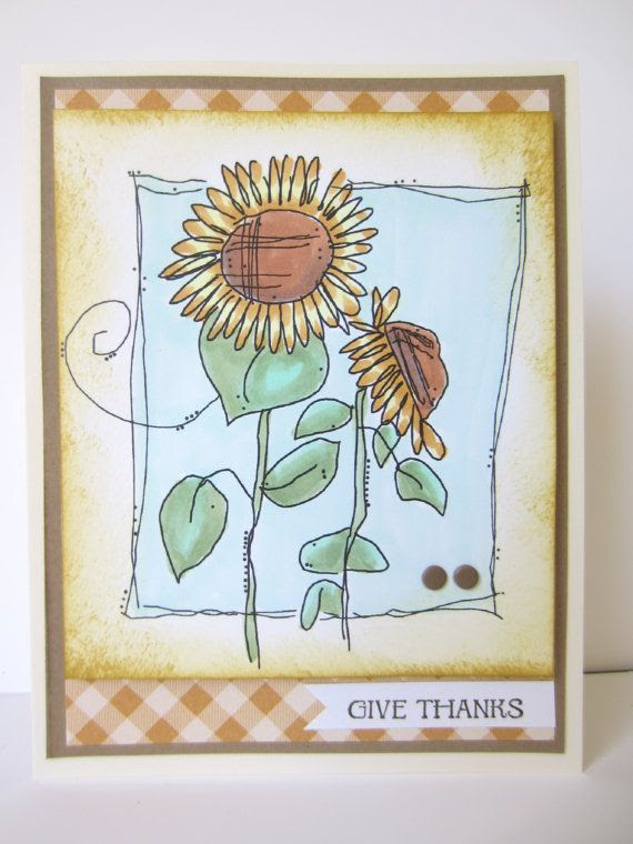 Sunflower Thank You Card Handmade Hand Colored by HawaiiPaperParty, $6.00
