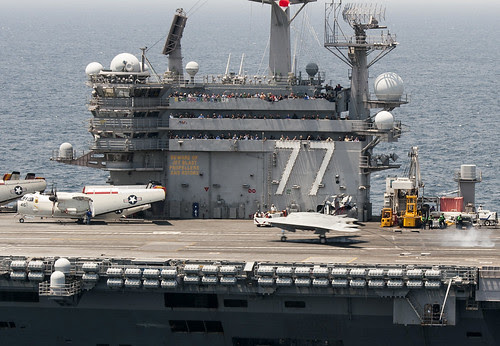 X-47B makes its first arrested landings aboard ship by Official U.S. Navy Imagery