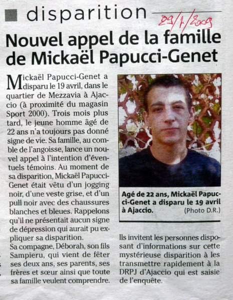 disparition inquiétante de Mickaël Genet-Papucci