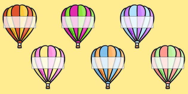 Editable A4 Hot Air Balloons (Stripes) - Hot air balloon