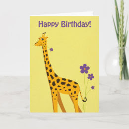 Funny Giraffe Birthday Cards