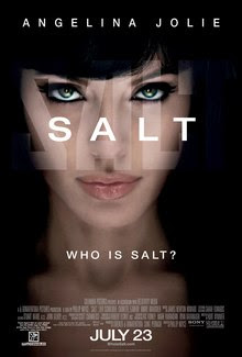 """A woman's face in a shadowy environment. The word 'SALT' is in the center, below it the question """"Who is Salt?"""""""