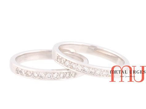 White diamond and platinum wedding rings. Custom made in