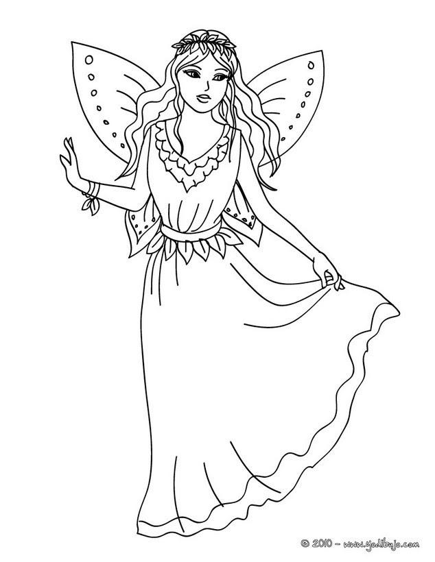 Dibujos Para Colorear Hada Con Hermosas Alas Eshellokidscom