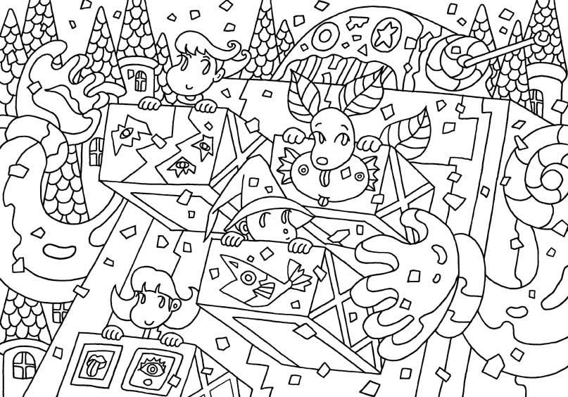 妖精キャラクター塗り絵 シリーズ3 巨大ロボットと大騒ぎ 塗り絵