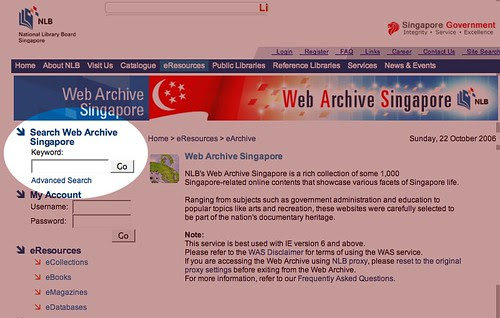 Web Archive Search Page