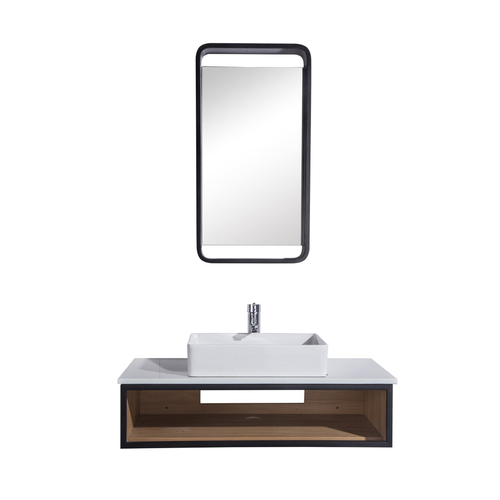 36 Single Vanity Cabinet Set Wall Mount Mirror And White Ceramic
