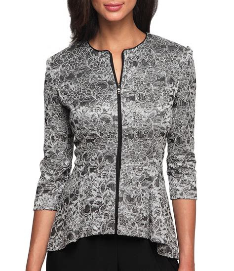 alex evenings printed lace zip front jacket dillards