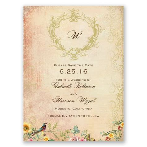 Vintage Birds Save the Date Card   Invitations By Dawn