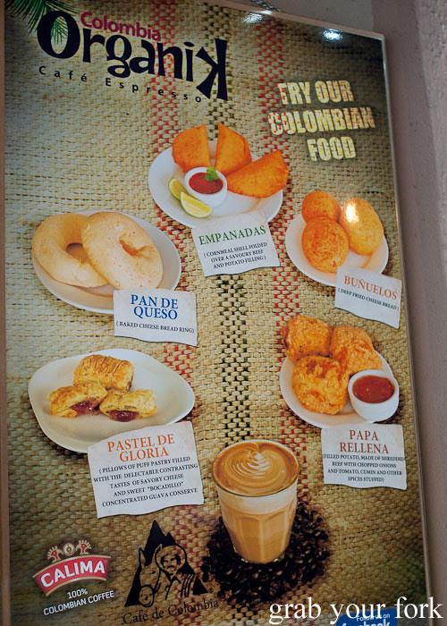 Colombian snack menu at Colombia Organik Sydney