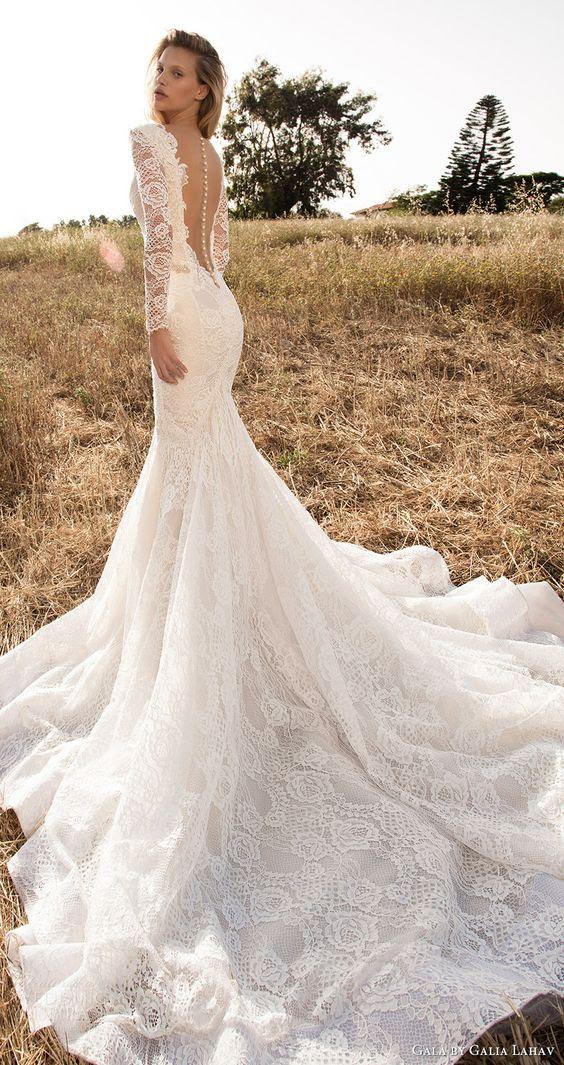 lange ärmel mit tiefem V-Ausschnitt Meerjungfrau Spitze Hochzeitskleid mit illusion zurück auf Schaltflächen