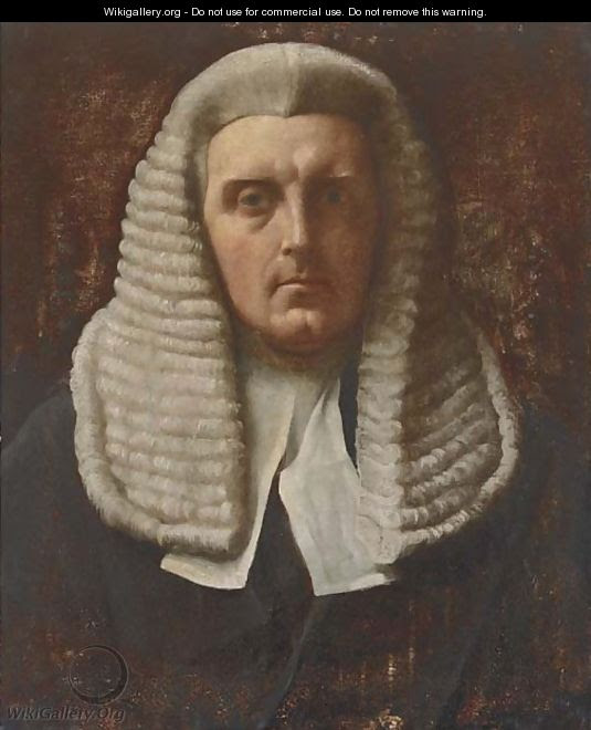 Portrait of a judge, bust-length, in wig and robes - English School