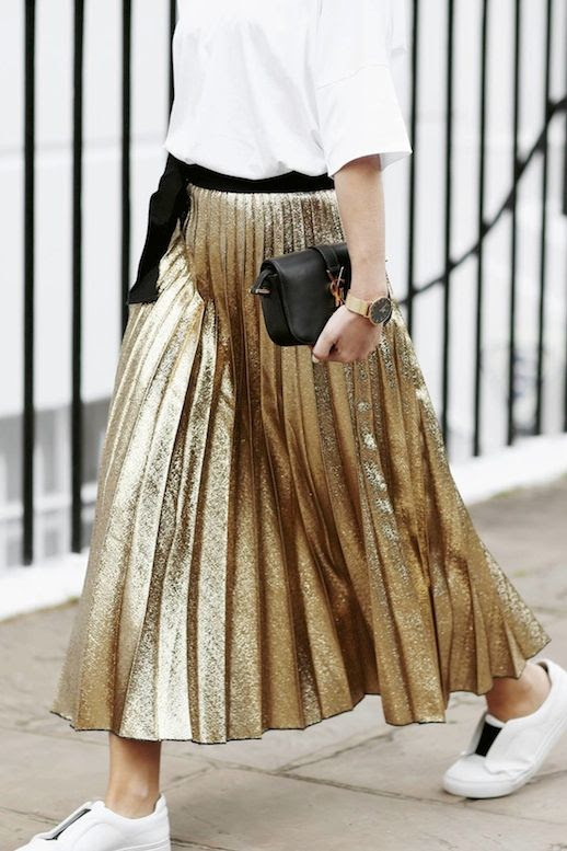 Le Fashion Blog Blogger Style Loose White Tee Shirt Maxi Metallic Gold Pleated Skirt Black Belt Gold Watch Mini YSL Purse Sneakers Via We The People