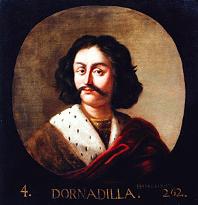 The Scottish king Dorna Dilla, by Jacob de Wet II, from the Great Gallery at Holyrood Palace.