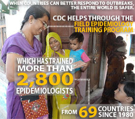 Infographic: When countries can better respond to outbreaks, the entire world is safer. CDC helps through the Field Epidemiology Training Program, whi