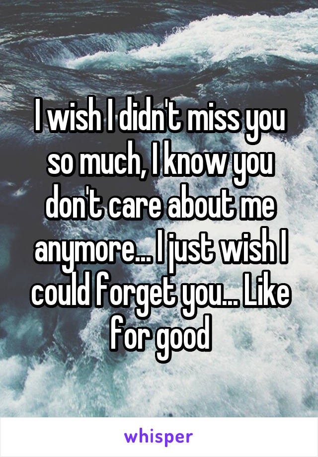 I Wish I Didnt Miss You So Much I Know You Dont Care About