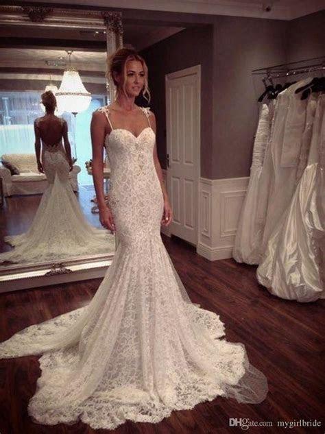 2017 Lace Mermaid Low Back Wedding Dress Sexy Lace Bridal